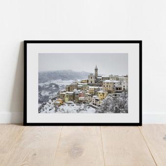 Colledimezzo con la neve, stampa d'Abruzzo